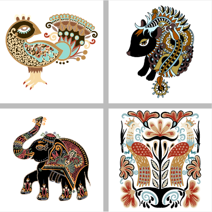 tegelstickerset_ethnic_animals_1k